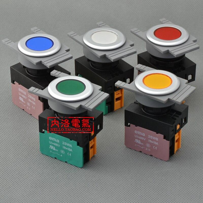 [SA] EMA 30 мм кнопочный выключатель с подсветкой E3P1*. M самосброс DC6/12/24 V 1NO или 1NC- 10 шт./лот