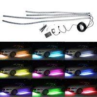 12V 90+120cm Auto RGB LED Decorative Strip Car Tube Underbody Glow System Neon Light Kit Atmosphere Lamp + Remote Controller