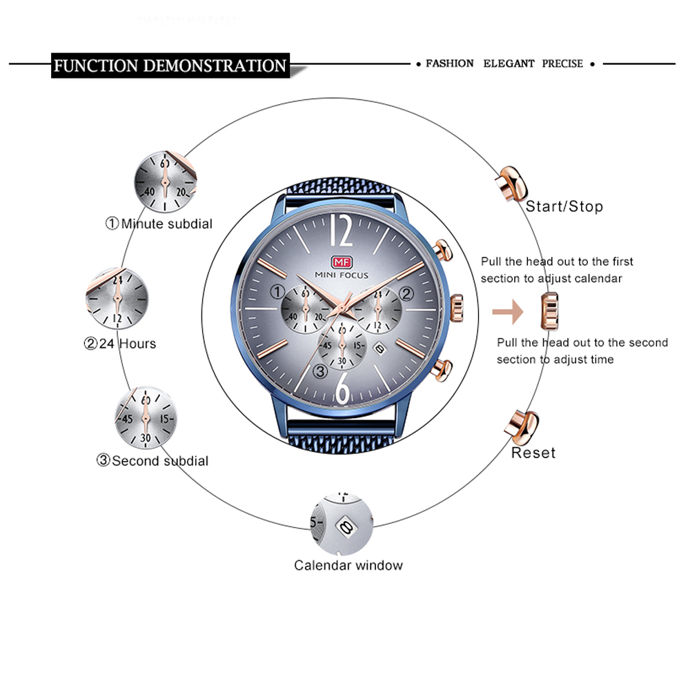 MINIFOCUS Top Brand Fashion Luxury Men Watch reloj de pulsera de - Relojes para hombres - foto 4