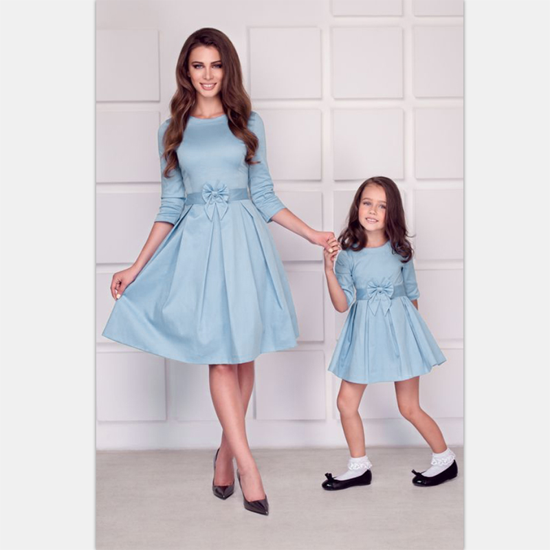 4fe2c6589991f NASHAKAITE family matching clothes Fashion Half Solid Slim Bow Dress mother  daughter dresses mother and daughter clothes