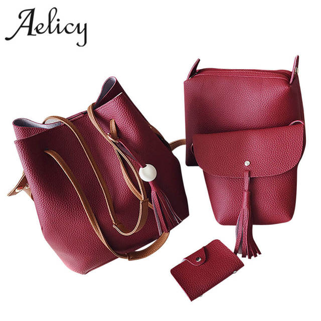 8555dc2a3262 US $12.05 40% OFF|Aelicy 4 Sets PU Leather Handbags for Women Luxury  Designer High Quality Shopping Tote Vintage Fashion Shoulder Bags sac a  main-in ...