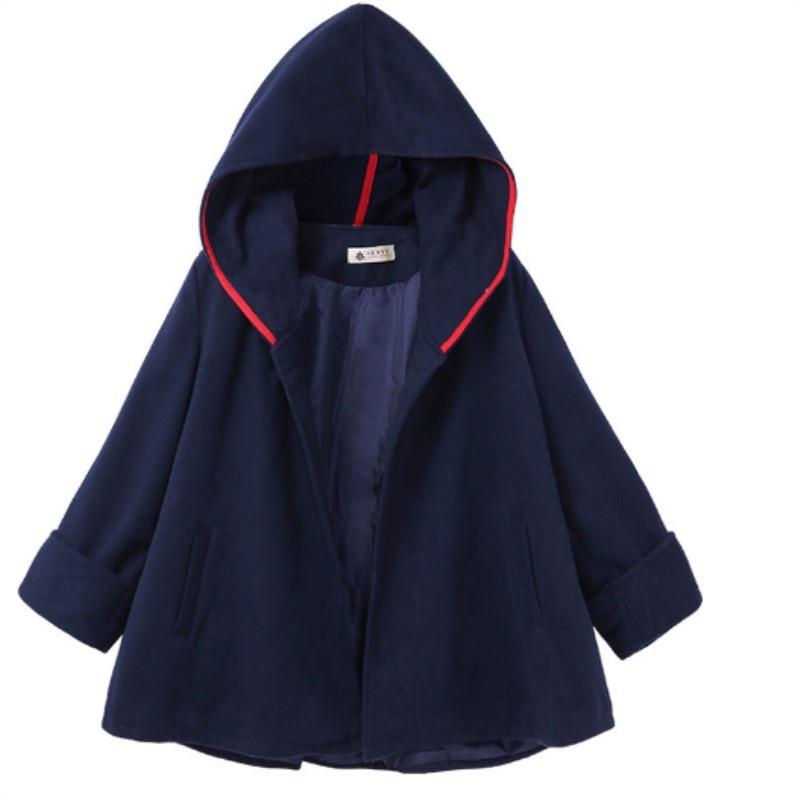 Осень/зима Повседневный длинный рукав с капюшоном плащ твидовое пальто карманы 5 ярдов красный хаки темно-синий открытый стежок одна кнопка женские смеси
