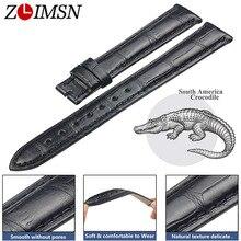 ZLIMSN timsah deri kayış el dikişli moda kaliteli rahat su geçirmez erkek ve kadın siyah Watch Band 12mm 26mm