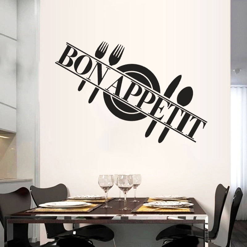 Cuisine bon appetit diy wall stickers kitchen rooms muraux for Decor mural cuisine