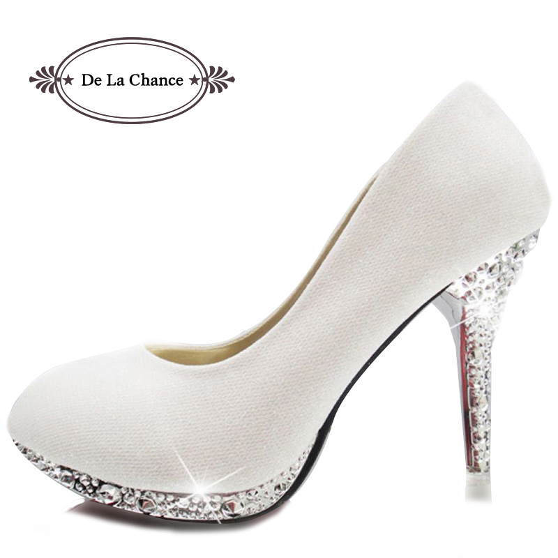 Aliexpress Buy 2017 Glitter White Wedding Shoes Evening Shoes Crystal Red Bottom High
