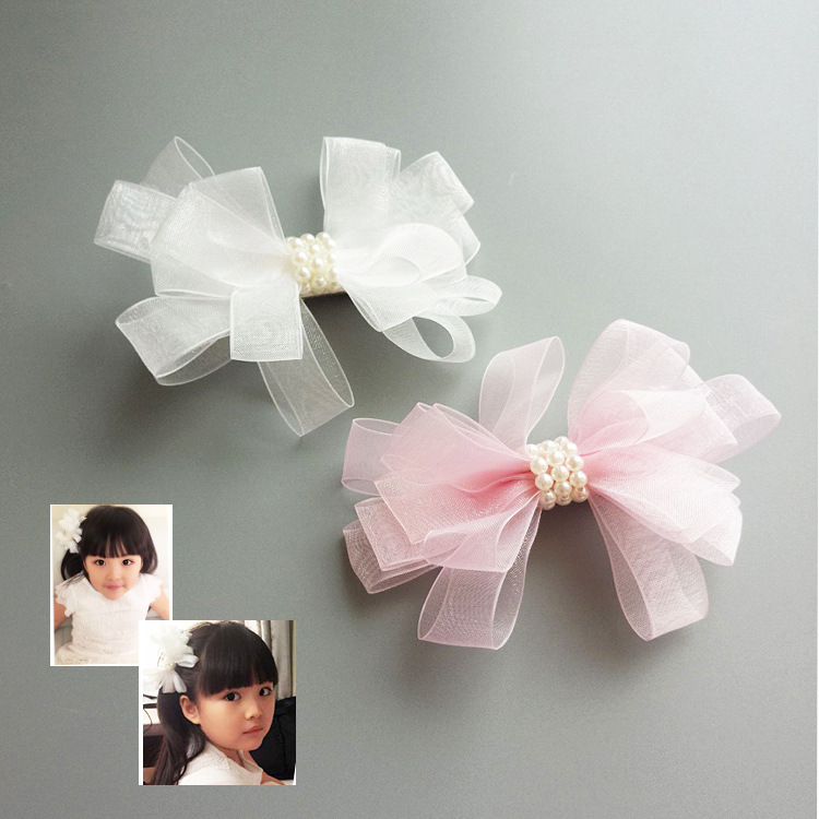 2pcs White Ribbon Pearl Hair Accessories Korea Princess Hair Clips Girls Flower Crown Hair Bows Hair Ornaments Rim Hairpin