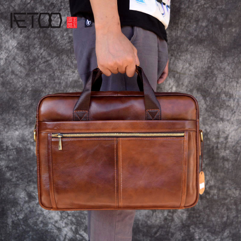 AETOO Leather handbag briefcase business casual men's bag cross section first layer leather computer bag aetoo first layer of leather foreign trade shoulder oblique cross package leather square notebook handbag business briefcase men
