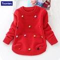 Suéter de las muchachas 2017 Otoño Invierno ropa Niños ropa de Bebé de Manga Larga Chica Suéter de Cachemira Suéteres Niños Outwear Caliente 4 Color