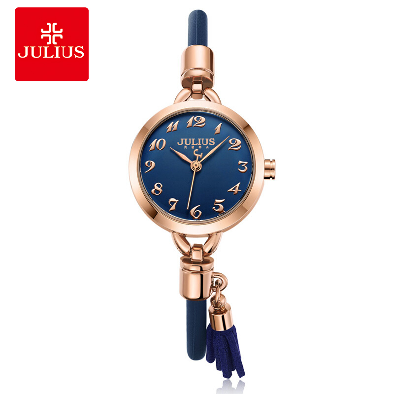JULIUS Brand Women Silicone Watch Small Dial Tassel Bracelet Watches 2018 Ladies Dress Wristwatch Rose Gold Relogio Feminino