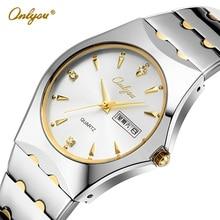 Onlyou Marca Relojes de Lujo Para Hombres de Negocios Reloj de Cuarzo de Acero Inoxidable Reloj de Vestir de Moda Masculina Reloj Reloj de Oro Negro 8677