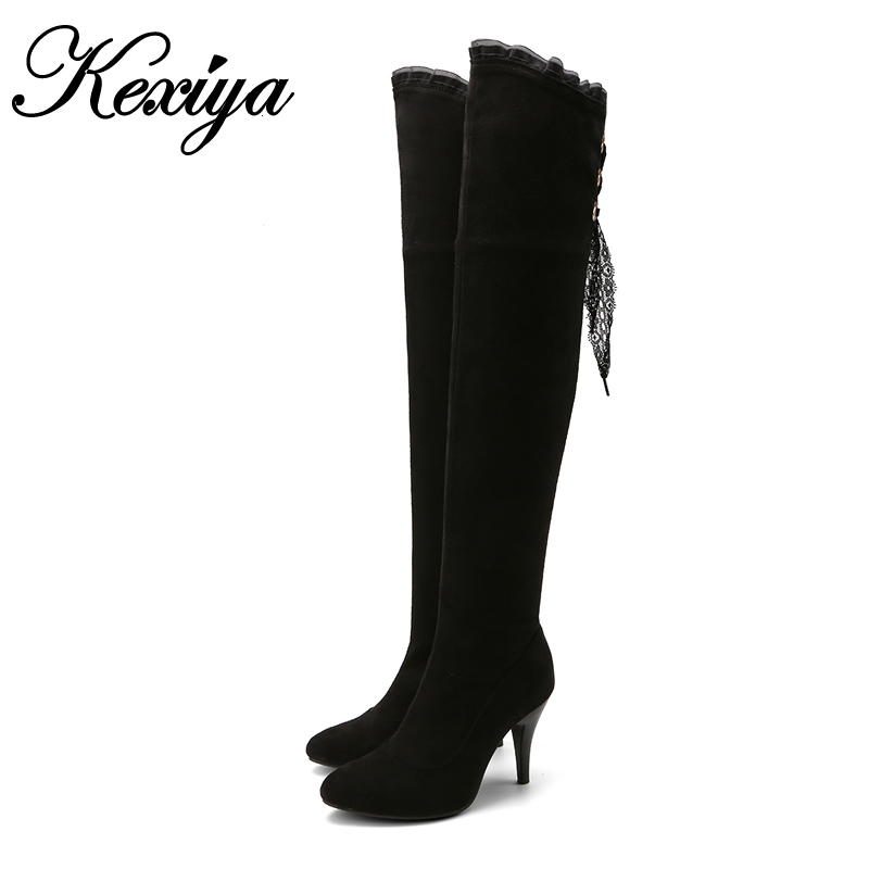 Big size 32-48 winter Women shoes fashion Round Toe black suede thin heel high heels zipper Over-the-Knee boots botas tacticas womens lace up over knee high suede women snow boots fashion zipper round toe winter thigh high boots shoes woman