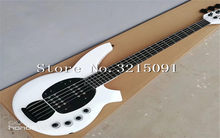 High Qulity Music Man Bongo Metal white 5 Strings Active Pickups Bass Guitar Musicman Bass Guitar free shipping(China)