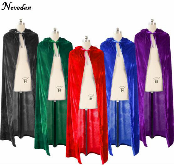 adult witch long purple green blue red black halloween capes hooded cloaks and halloween costumes for women men