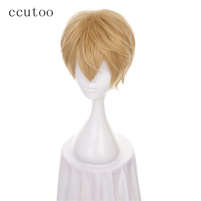 Ccutoo 30cm Short Kano Blonde Yellow Mix Fluffy Layered Synthetic Wig Heat Resistance Cosplay Wig Heat Resistance Fiber
