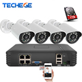 Techege 4CH 1080P POE NVR HDMI 2.0MP 1.3MP 1.0MP IP camera Waterproof Outdoor 720P 960P 1080P ip Camera System Surveillance Kit