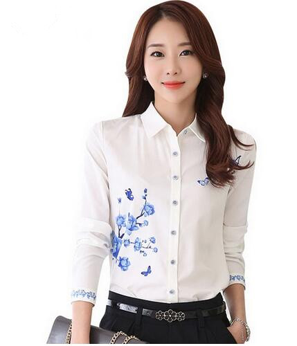 New Women White Blusa 2017 Formal Work Blouse Plue Size S-3XL Korean Women Printed Shirts Chiffon Blouse Slim Lady Shirts