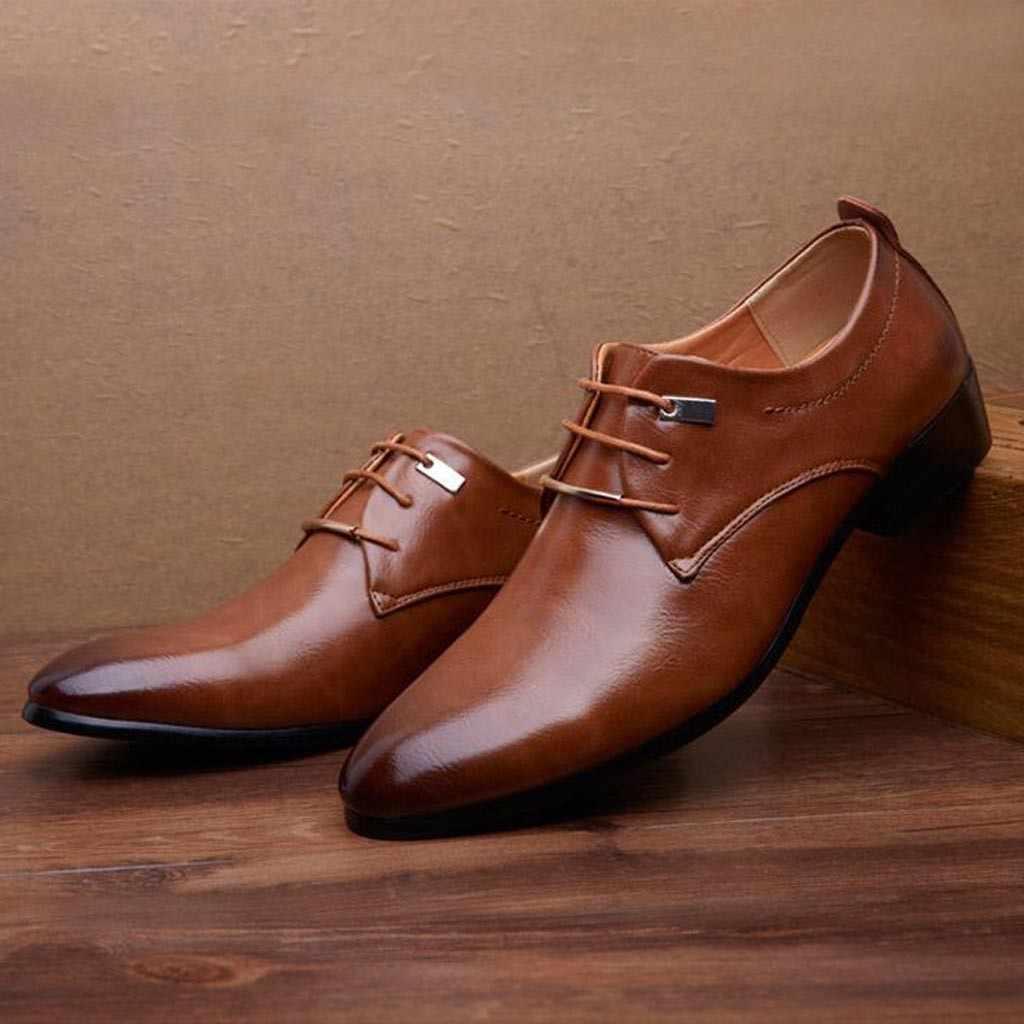 2019 แฟชั่นผู้ชายรองเท้าธุรกิจอย่างเป็นทางการคุณภาพสูงชี้ชุดรองเท้าขนาด 37-48 Oxfords หนังผู้ชายรองเท้า