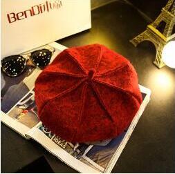 2018 franTui, brandi s k1-k3 The autumn winter British wool bud cap female painter Korean black Newsboy Hat pumpkin star Bailey faux wool felt newsboy hat