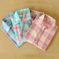 100% Cotton Plaid Ladies Shirt 2016 New Spring Full sleeved Turn-down Collar Embroidery Letter TB Women Tops And Blouses