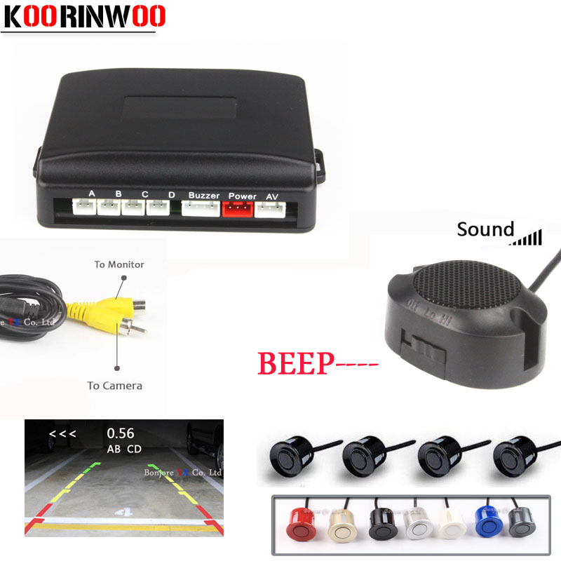 Koorinwoo Adjustable Speaker Car Parking Sensor 4 Video Sysem Digital Screen Blind Probe Parktronic System Car-detector Reverse