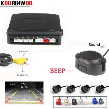 Koorinwoo Dell'altoparlante Regolabile Sensore di Parcheggio 4 Video Sysem Schermo Digitale Sonda cieca Sistema Parktronic Auto-detector Reverse
