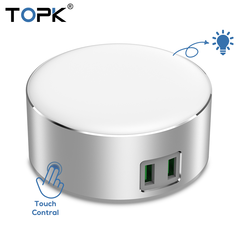 TOPK 2 Port USB Charger 5V 2.4A(Max)12W Auto-ID Dimmable Smart LED Table Lamp EU Mobile Phone Charger for iPhone Samsung Xiaomi ...