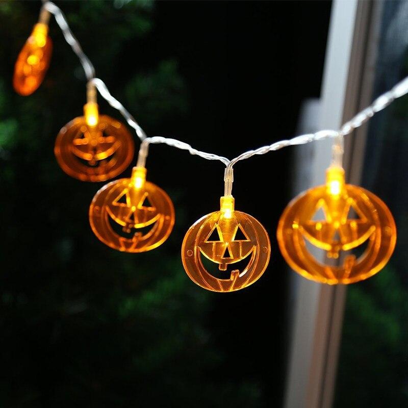 2M Halloween Decoration Pumpkin LED Light String Colorful Ghost Skull Bat Battery LED Light String Fairy Lights luces de navidad