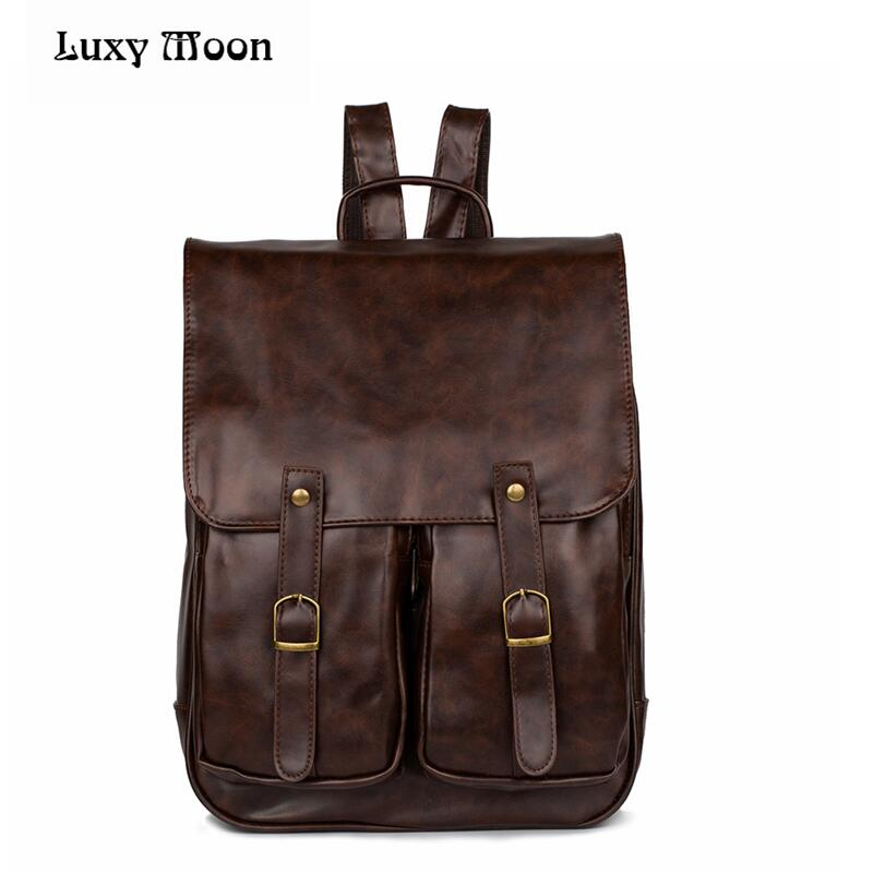 Luxy Moon New Preppy Style Women Leather School Backpack Girl College Simple Design Men Casual Daypacks Mochila Male W416