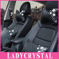 Ladycrystal Car Pillow Black PU Leather Car Neck Headrest Hold Pillow Little Daisy Seat Supports Auto Car Styling Accessories