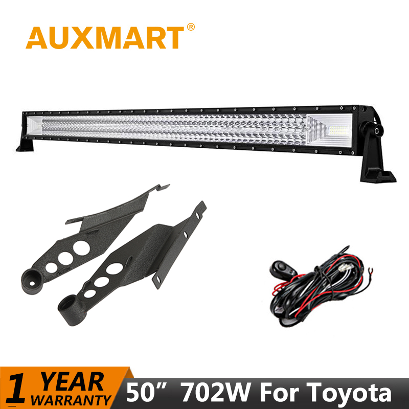 Auxmart LED Light Bar For Toyota Tacoma 2005~2015 Straight 50inch 702W LED Work Lamp Offroad Driving Light Bar Mounts Brackets сумка dansballet 2005 2015 d12783d0