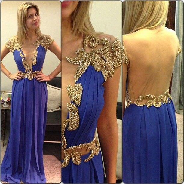 Royal Blue 2018 Sheer Tulle Back Jewel Cap Short Sleeve Elegant Golden Beaded Long Prom Party Gown Vestidos   bridesmaid     dresses