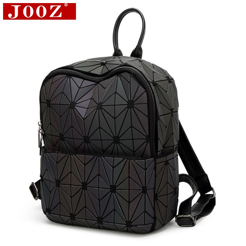 JOOZ 2018 new luminous matte backpack Japanese-style trend rhombic stitching School bags Hologram Discolor women's backpack