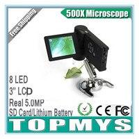 WINMAX Профессиональный портативный цифровой usb микроскоп 500X реального 5mp 3.5 ''ЖК дисплей Дисплей 8 светодиодных USB SD Card литиевая Батарея tm xr039