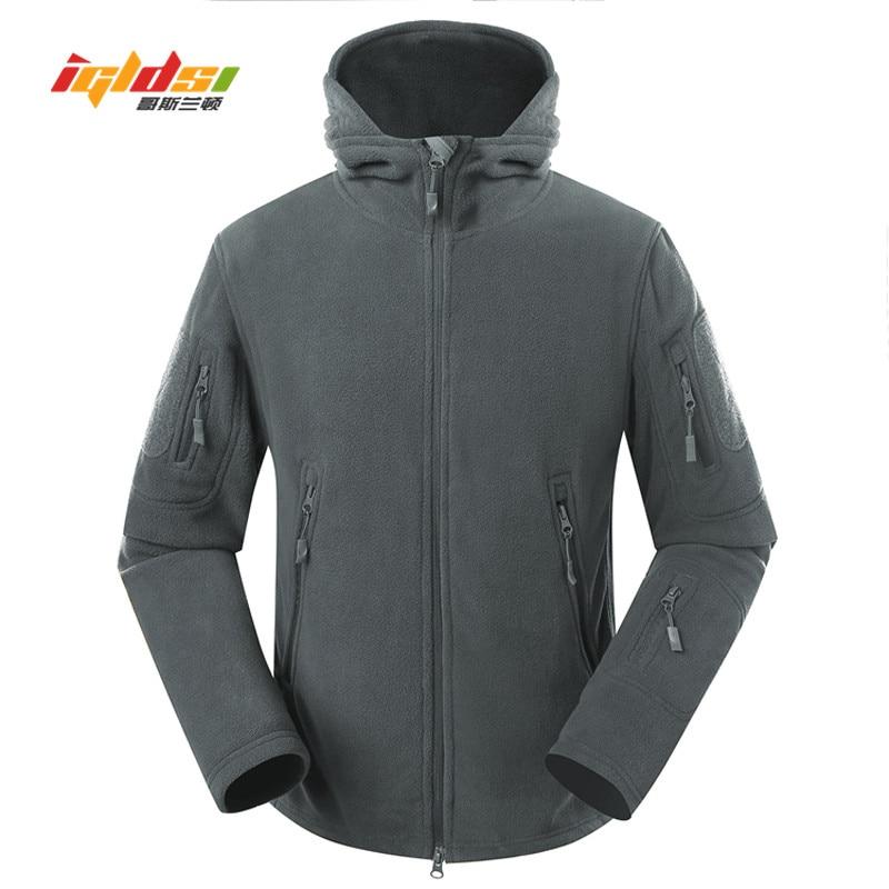 IGLDSI Winter Military Fleece Jacket Warm Men Tactical Jacket Thermal Breathable Hooded Men Jacket Coat Outerwear Clothes S-2XL