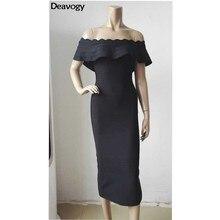 Deavogy новинка женское черное красное небесно-голубое платье с открытыми плечами с вырезом лодочкой сексуальное элегантное облегающее вечернее Бандажное платье горячая Распродажа