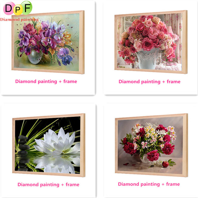 391768537e DPF Framed Diamond Embroidery flower round Diamond Cross Stitch Rhinestone  home Decor painting Needlework