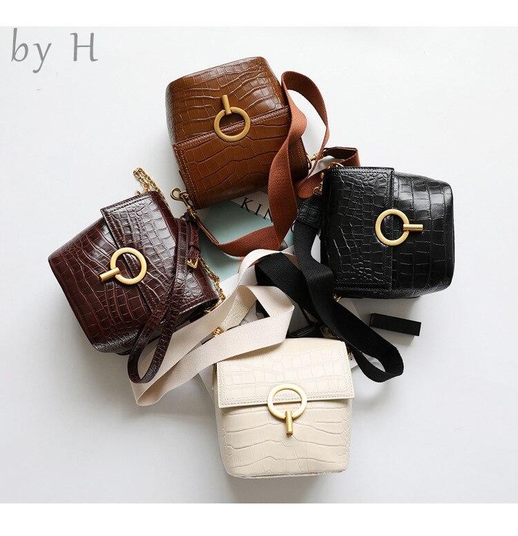 by H genuine leather luxury designers alligator embossed flap bag big ring bag round bag shoulder bag croco bag hot mami minibag