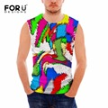 FORUDESIGNS Summer Tank Tops 3D Multicolor Print Spandex Breathable Basic Shirt for Men Bodybuilding Fitness Mens Undershirt