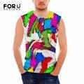 Forudesigns tanque verão encabeça 3d multicolor spandex impressão camisa básica respirável para os homens musculação aptidão camisola dos homens