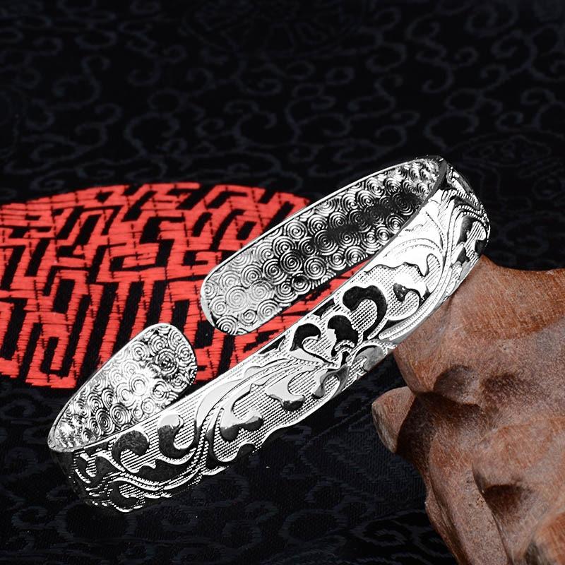 H:HYDE Print pattern Silver Bracelets & Bangles For Women Pulseiras Femininas Braslets Valentine Gifts