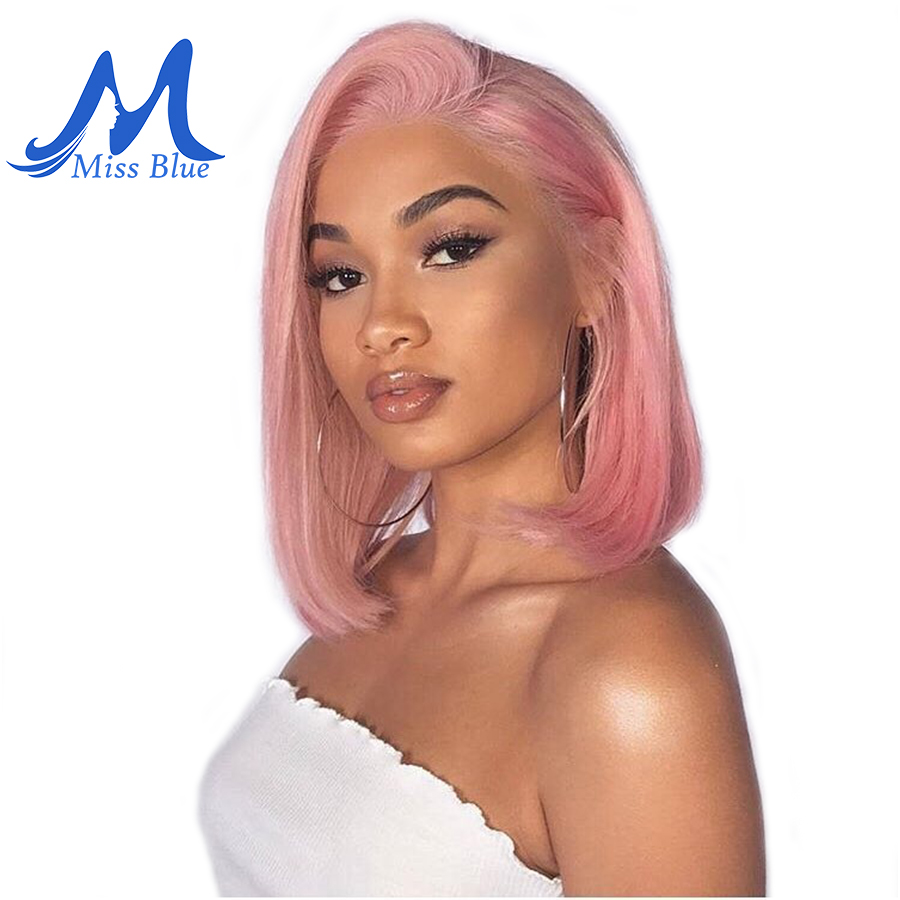 Missblue Lace Front Human Hair Wigs For Black Women Straight Ombre Short Bob Wig Pre Plucked 613 Blonde Pink Blue Burgundy 99J(China)