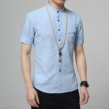 Mode lässig flax shirts männer shirt kurzarm stehkragen slim fit shirt männer business-männer hemden männer kleidung