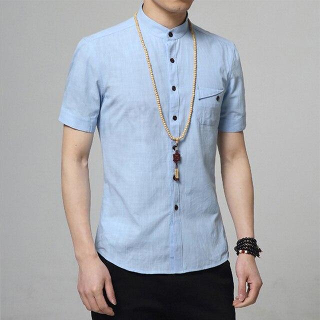 a70b87a3036 Fashion casual flax shirts men shirt short sleeve stand collar slim fit  shirt men business mens