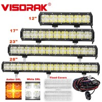 VISORAK 12 17 23 28 Amber DRL LED Light Bar Truck Bar LED For Car SUV ATV 4WD 4x4 Offroad Vehicle LED Work Light Bar