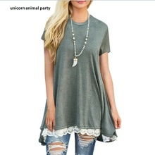 girl summer round collar pullover head lace stitching With short sleeve big place loose leisure lady many kinds color dresses недорого