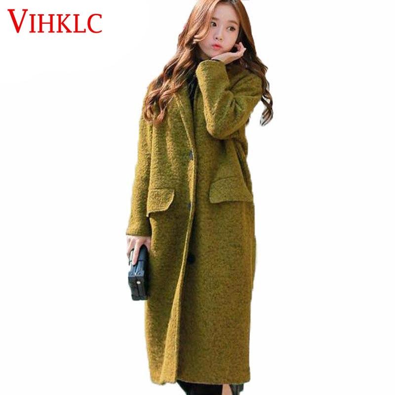 Mélanges Et Hiver Long Mode Paletots En De Laine Lâche Femmes Vert Manteau D248 Green Nouvelle Tranchée Épais 4vnqwCq