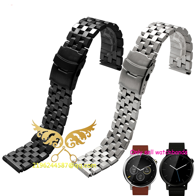2016 New Fashion 22 mm Stainless Steel Solid Link Watch Band Strap Bracelet Straight End Black Silver все цены