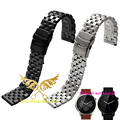 2016 New Fashion 22 mm Stainless Steel Solid Link Watch Band Strap Bracelet Straight End Black Silver