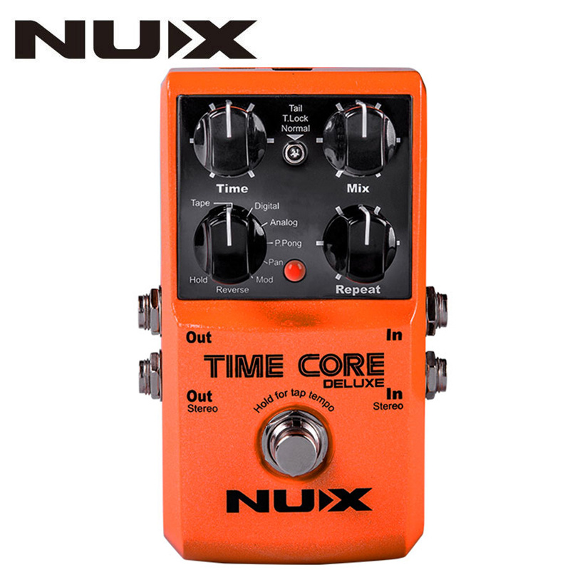 цена на NUX Upgraded Time Core Deluxe Delay Guitar Effects Pedal 7 delay effects 40 seconds Loop Time Tone lock Delay Guitar Pedal