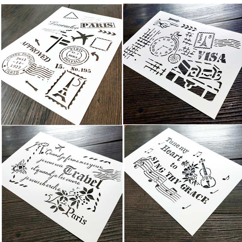 4 Piece A4, Vintage France Travel Stencil,French Words, Music Notes Reusable Template Designs For Scrapbook,Crafting,DIY Album